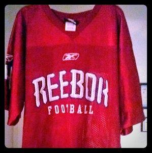 Logo athletics red reebok football jersey ( L)